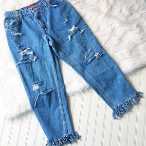 Levi's Distressed High Waisted Cropped Jeans Sz 10